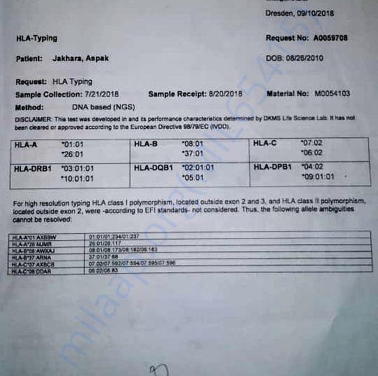 Medical Report (HLA Report)