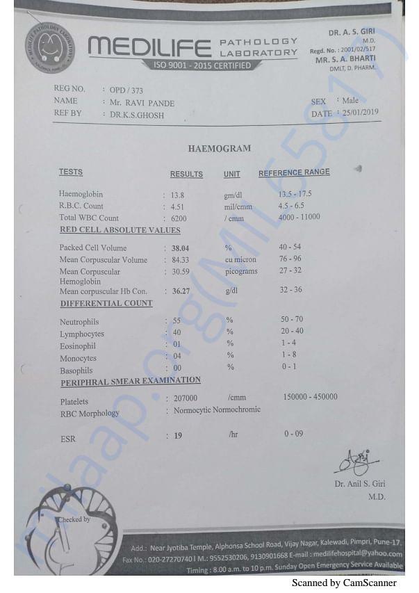 Sonu (Ravi) medical report