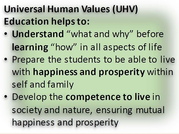 Help to Transform Our Education System Through Universal Human Values