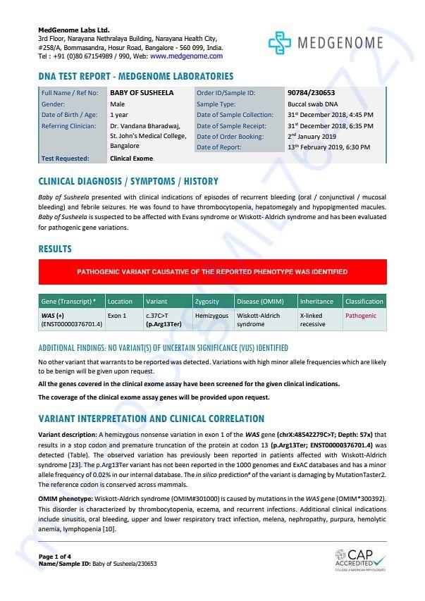 WAS diagnosis Report of Baby Manvith