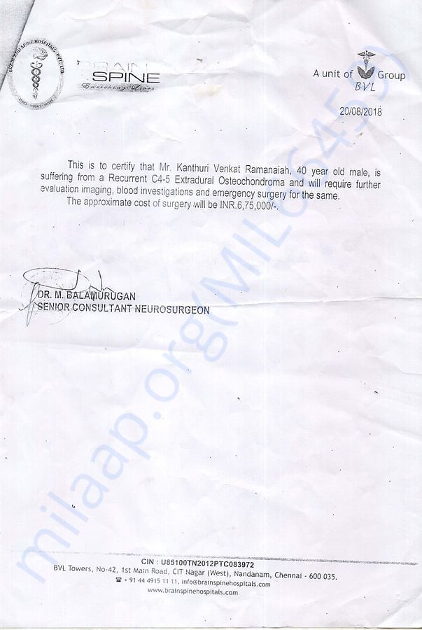 Treatment Estimation letter from doctor
