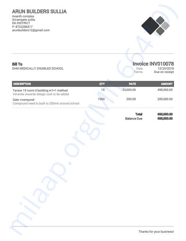 invoice of contruction