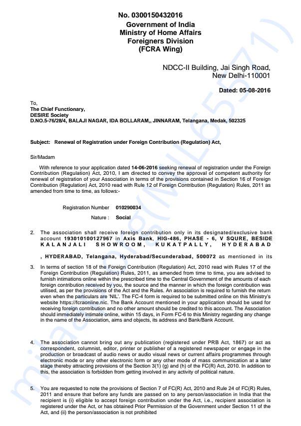 Renewal Certificate FCRA