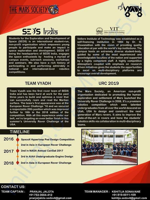 SEDS VIT - Team Vyadh Brochure