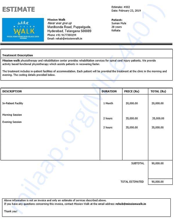 Estimate letter for Rehabilitation