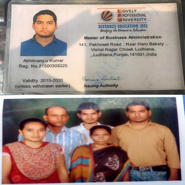 Abhimanyu ID Card & Family Pic
