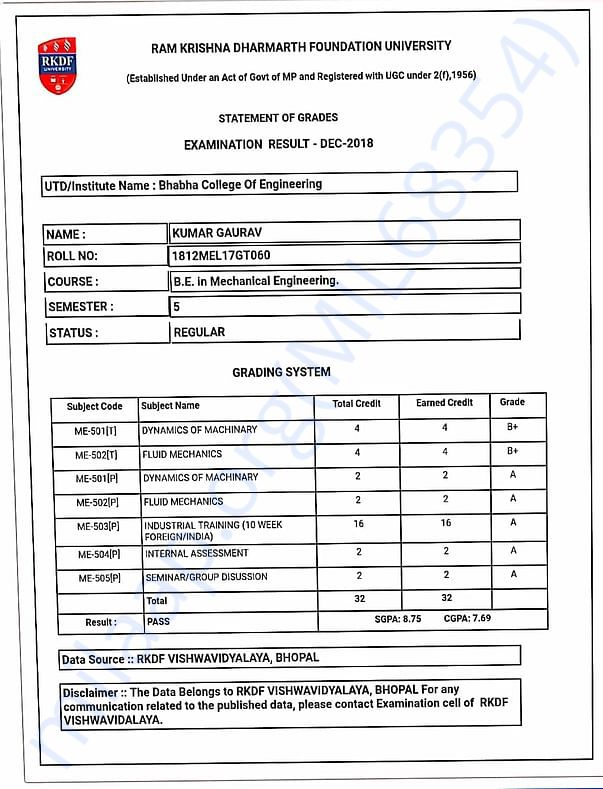 My 5th semester College result