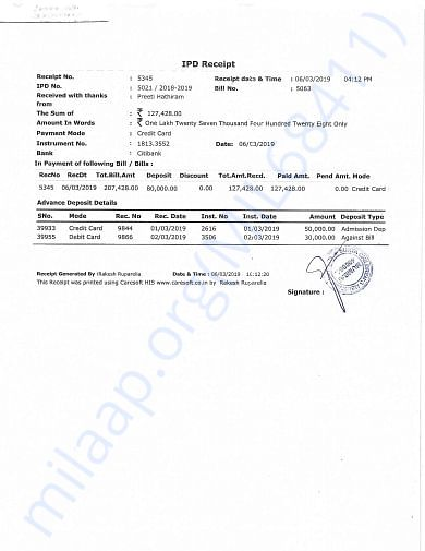 Receipt of payment made for mother's stay (7 days)
