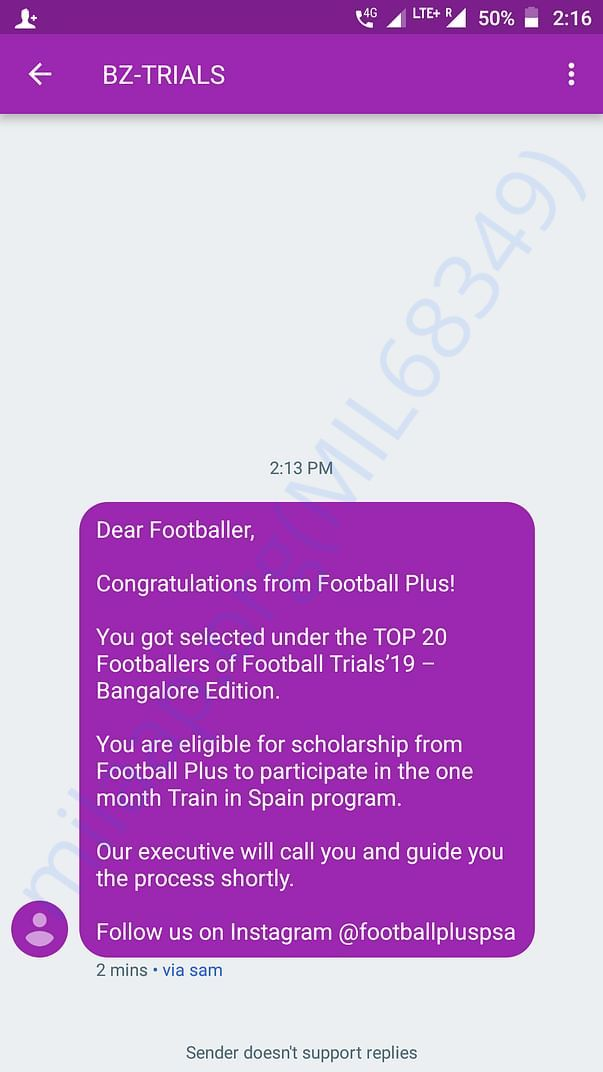 Bangalore trail's  confirmation msg