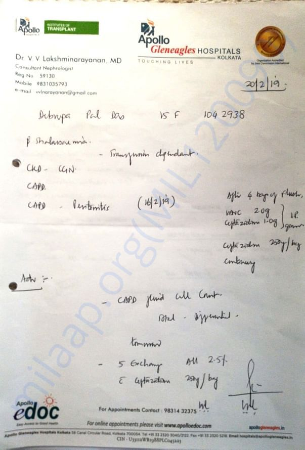 Prescription  of Nephrologist , kolkata