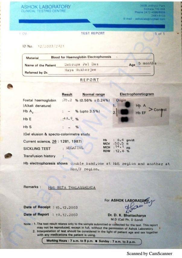Thalassaemia test report.