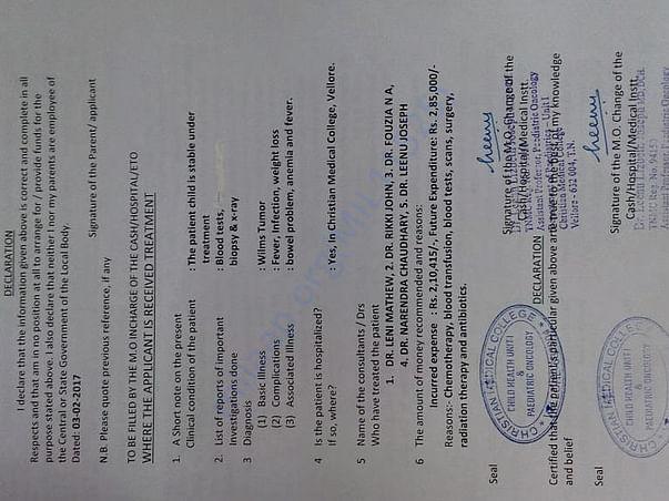 Help Srijita For Cancer Treatment At CMC Vellore.