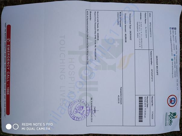 Paid hospital bill