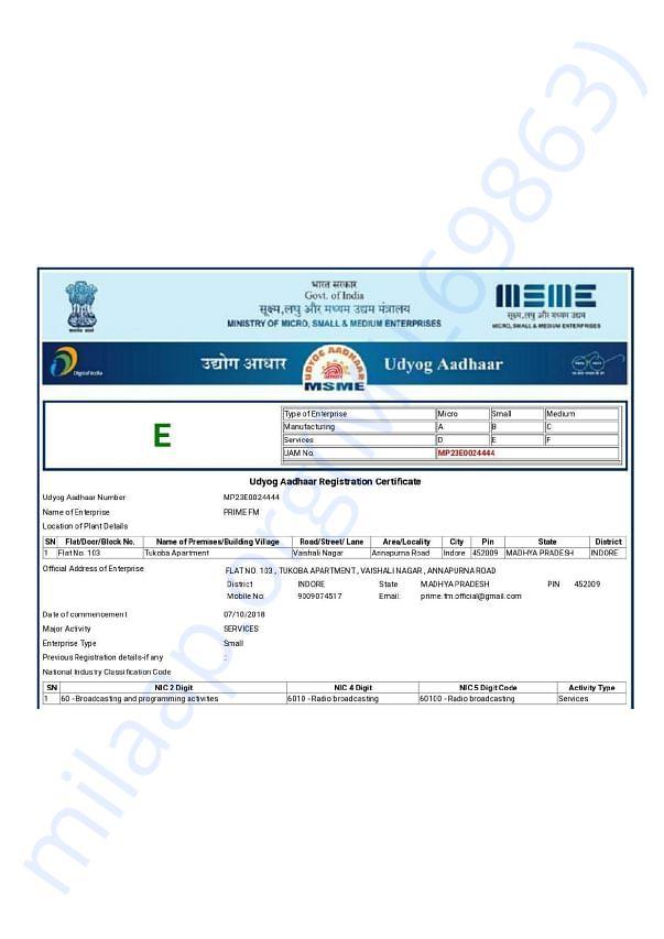 Registered Udyog Aadhaar Number : MP23E0024444  for Radio Broadcasting