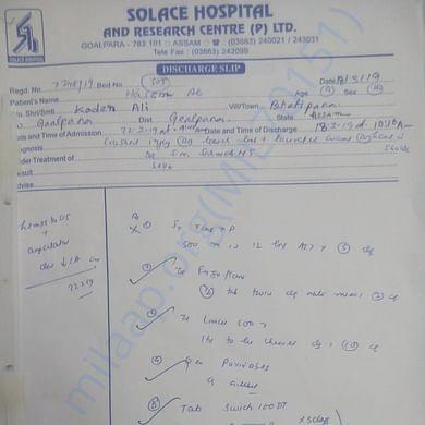 Prescription of Hasim Ali