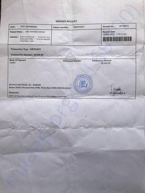 Hospital receipts