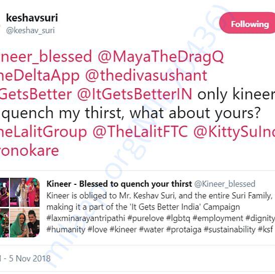Tweet by Mr. Keshav Suri