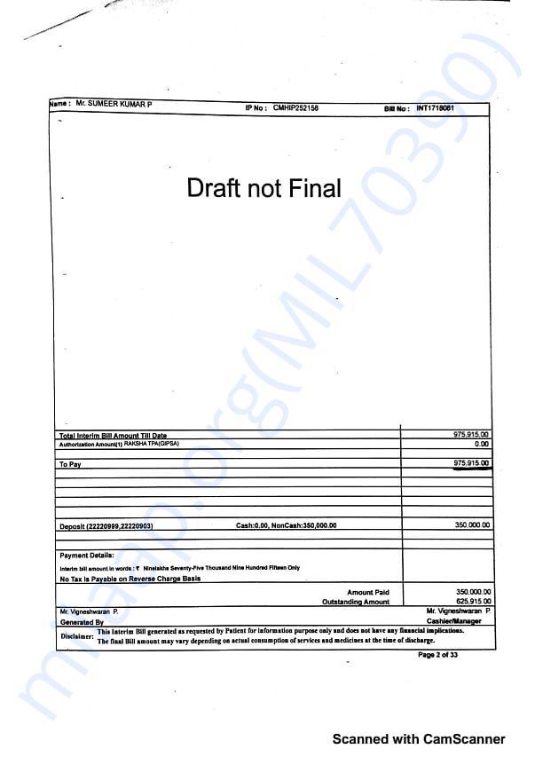 Updated Bill estimate contd