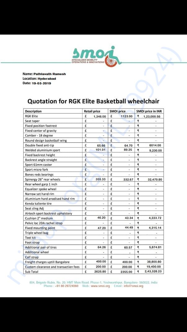 My professional sports wheelchair estimation letter