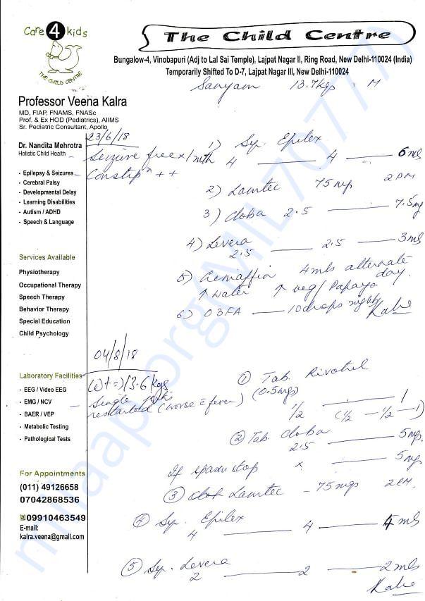 Prescriptions of Dr. Veena Kalra,  Ex-HOD paediatrics,AIIMS New Delhi