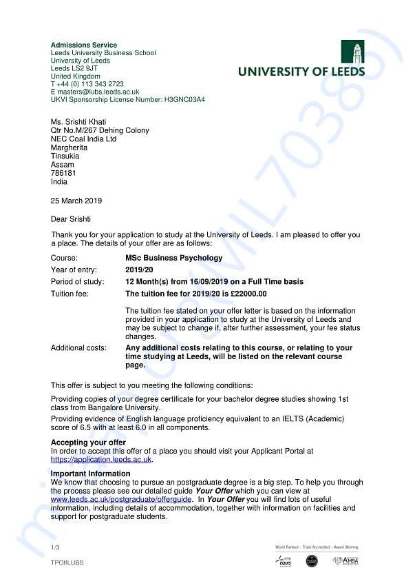 Proof of offer letter from University Of Leeds