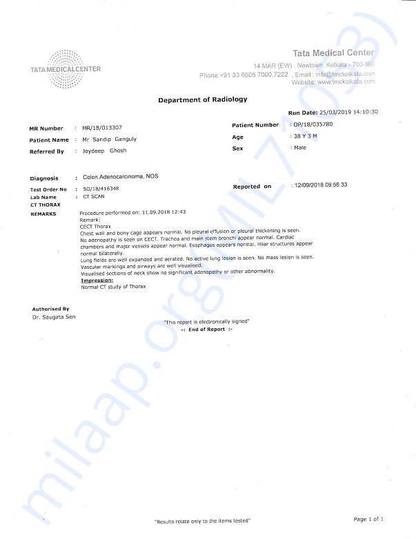 CT Scan Report of chest on 12th sep, 2018