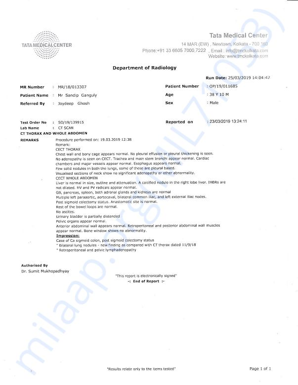 CT Scan Report for whole abdomen and chest performed on 19th Mar, 2019