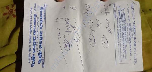 Medical prescriptions  of Vyshnavi mom