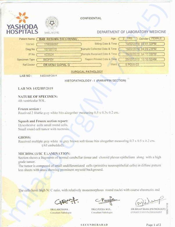 MRI Reports from Yashoda Sec'bad and Tata Memorial Hospital, Mumbai
