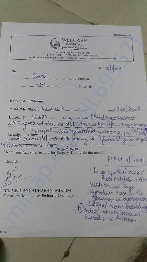 Surgery referring letter