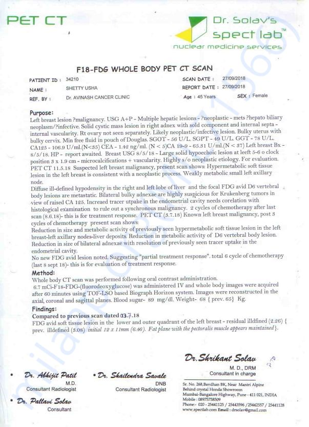 Usha Pet Scan Report