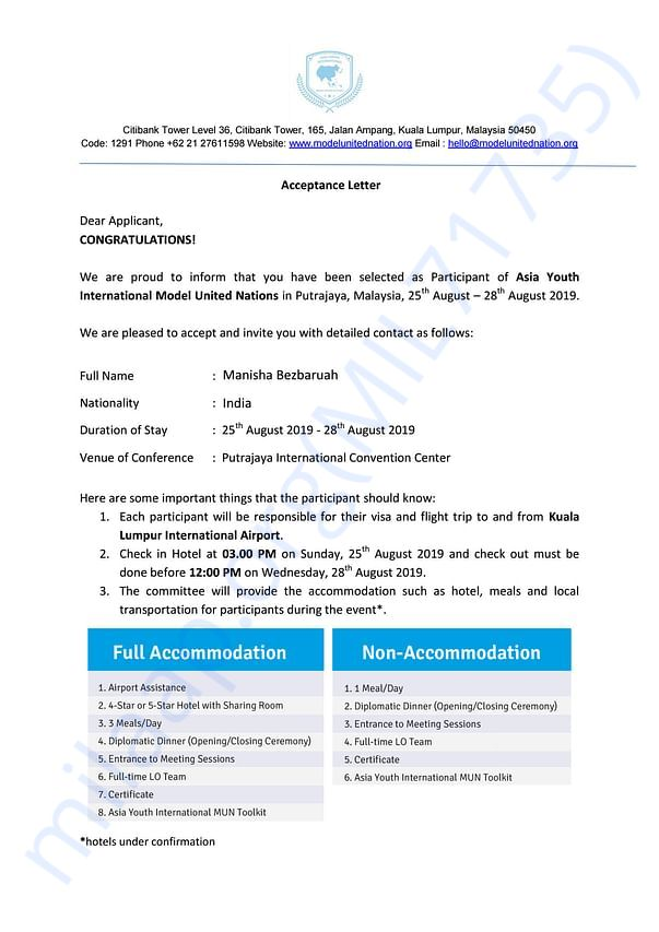 Letter Of Acceptance from AYIMUN
