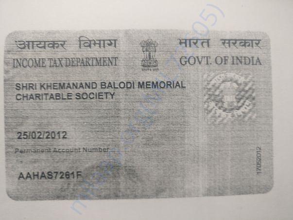 PAN Card of Society