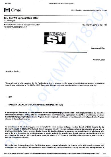 """Kalpana Chawla Scholarship SSP19"" offer mail copy"