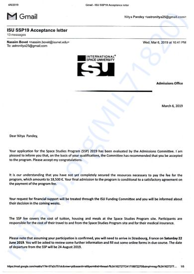 Acceptance letter from ISU France in SSP19