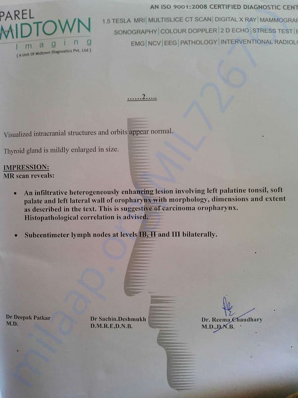 REPORT OF MRI SCAN