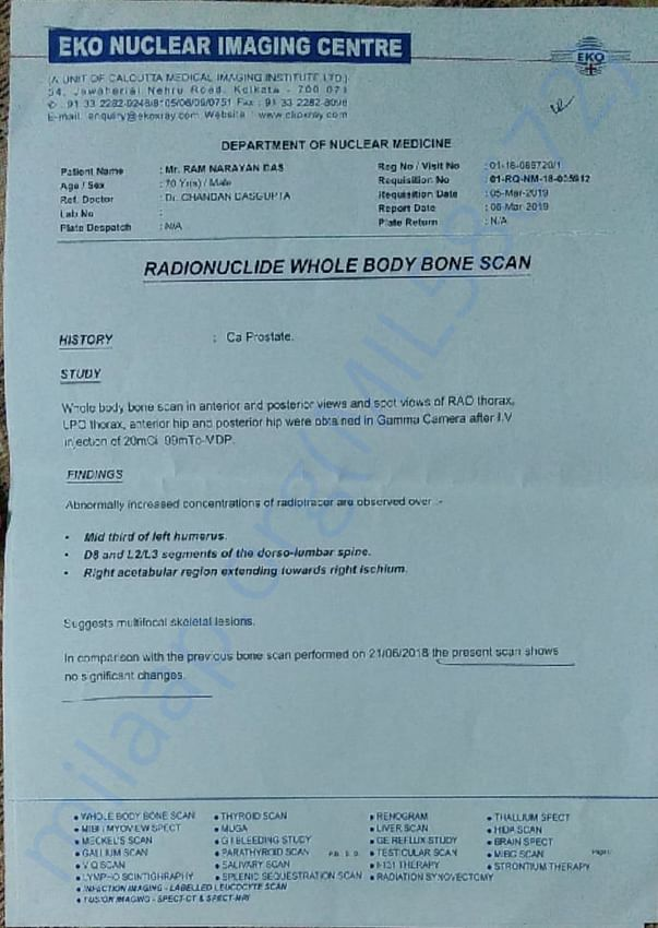 Bone Scan report of ram Narayan Das