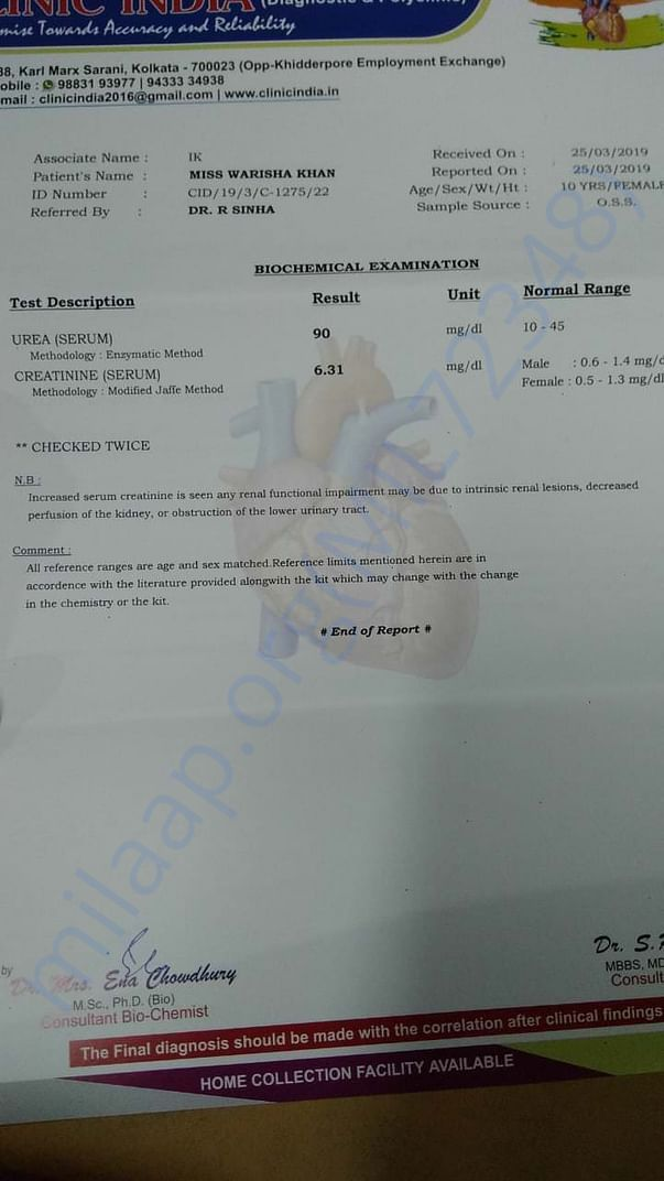 Her blood report