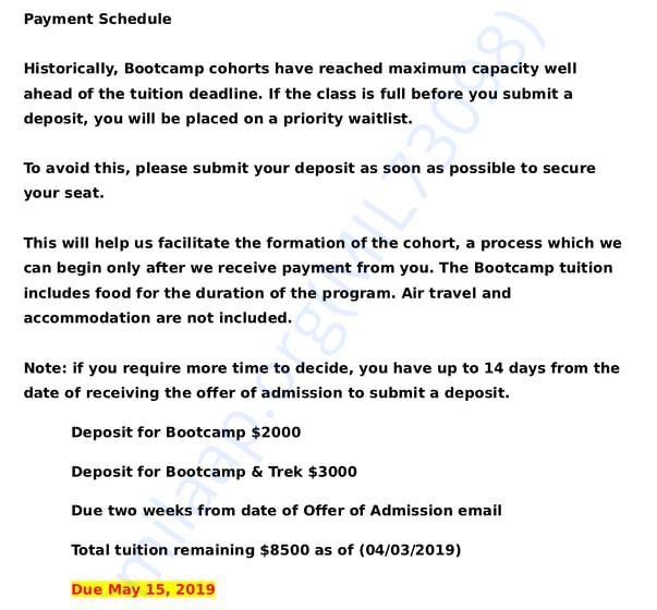 Deposit Requirements
