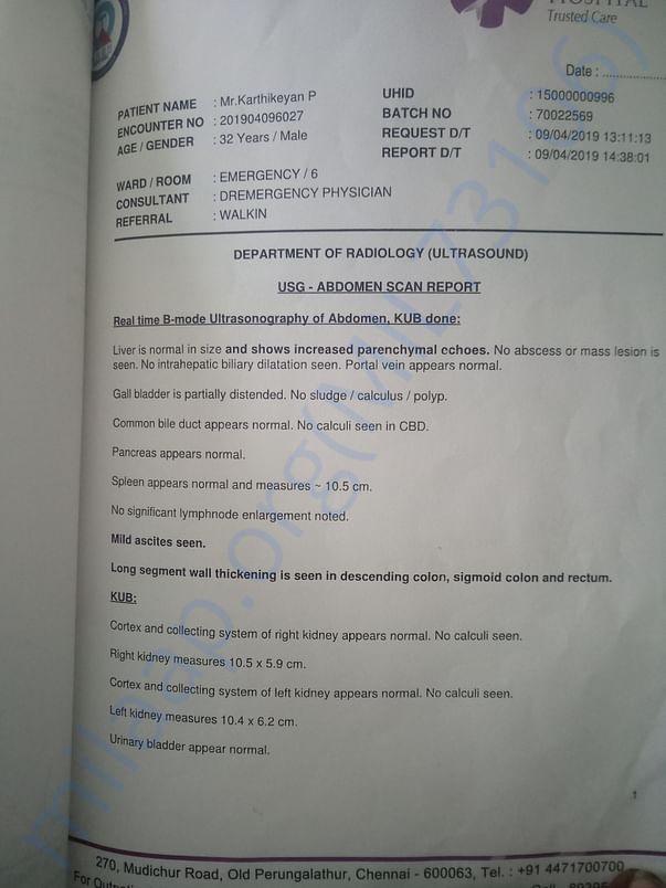Us abdomen scan report