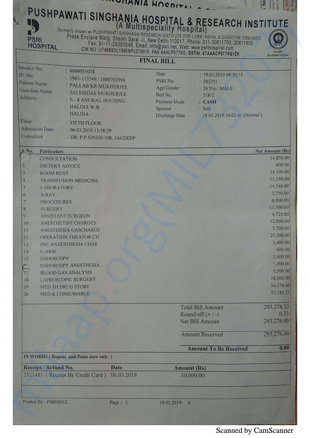 Last Invoice of Pre examination and colostomy