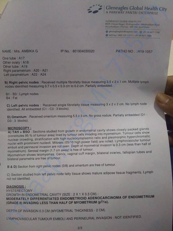 Biopsy report second page