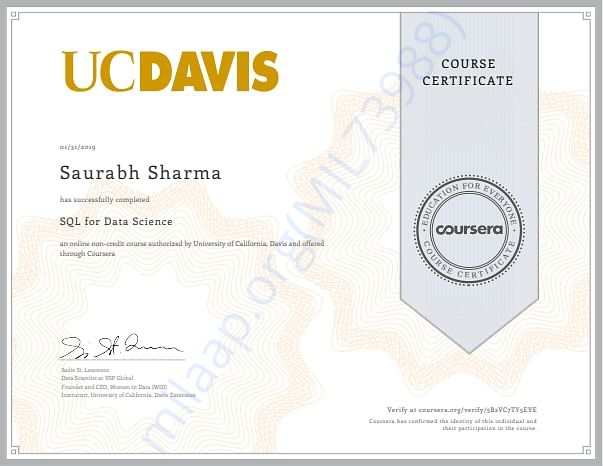 Certificates of Courses I have Taken with Fee Waiver