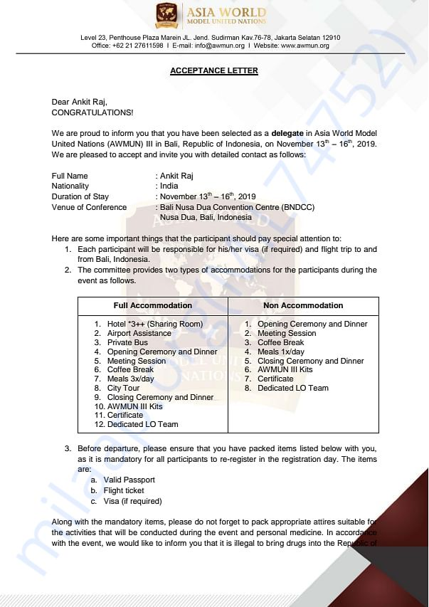 The acceptance Letter from AWMUN III Indonesia