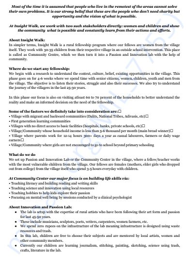 About Insight Walk | One Pager