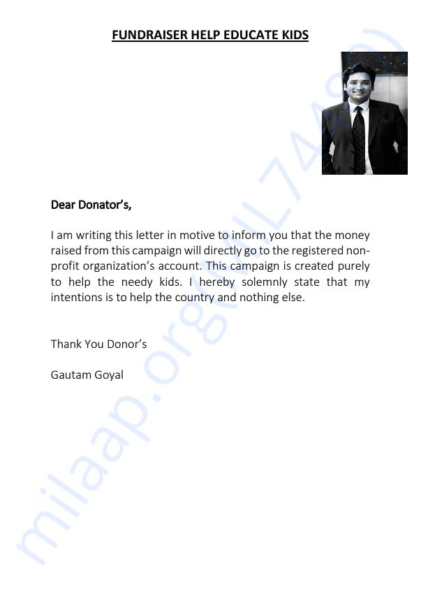 Letter For Donator's