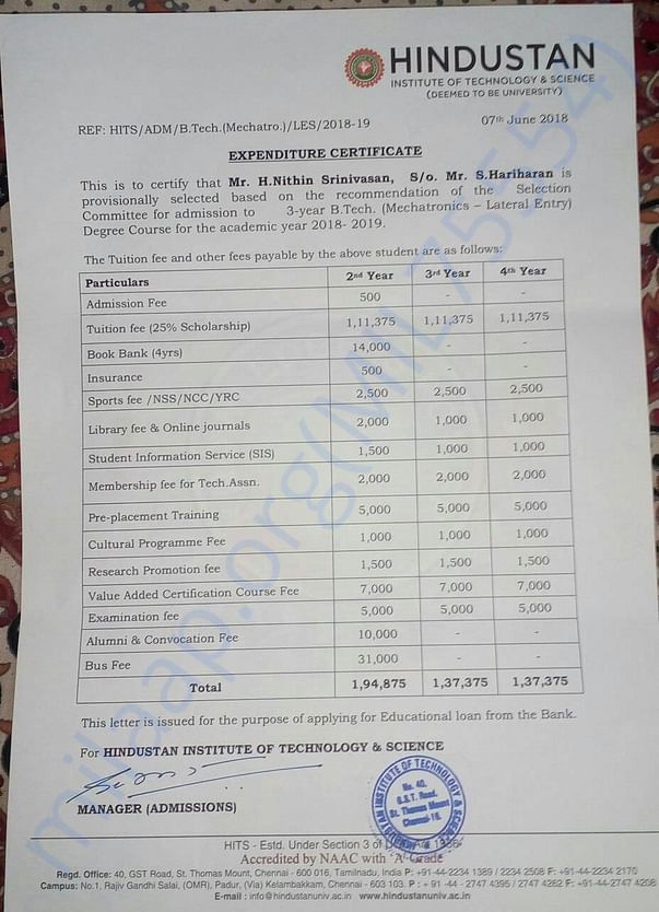 College Academic Fee Detail. Refer 3rd year fee