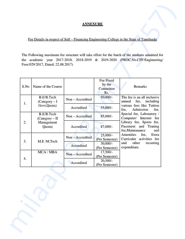 The estimated fees to join the engineering college in tamilnadu