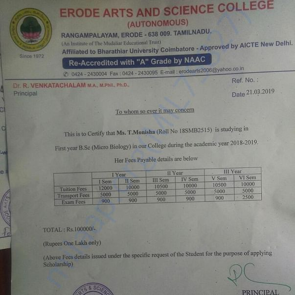 Fees receipt from the college