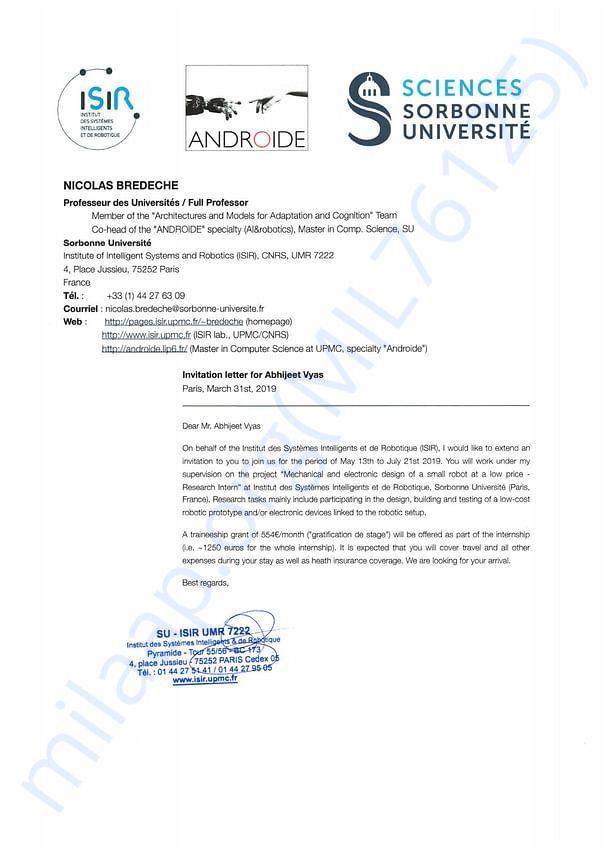 Research Internship Invitation Letter